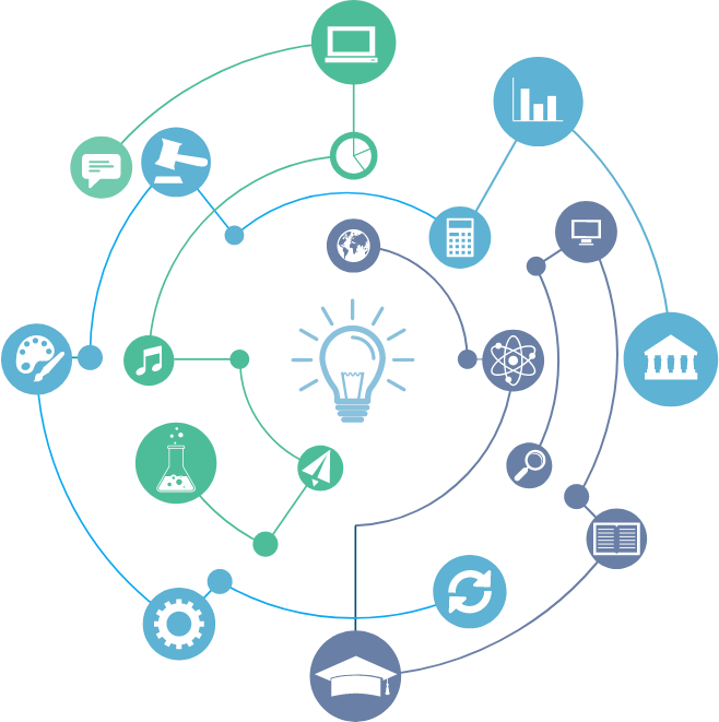 Círculo com ícones de compartilhamento, formando uma rede hiperconectada.